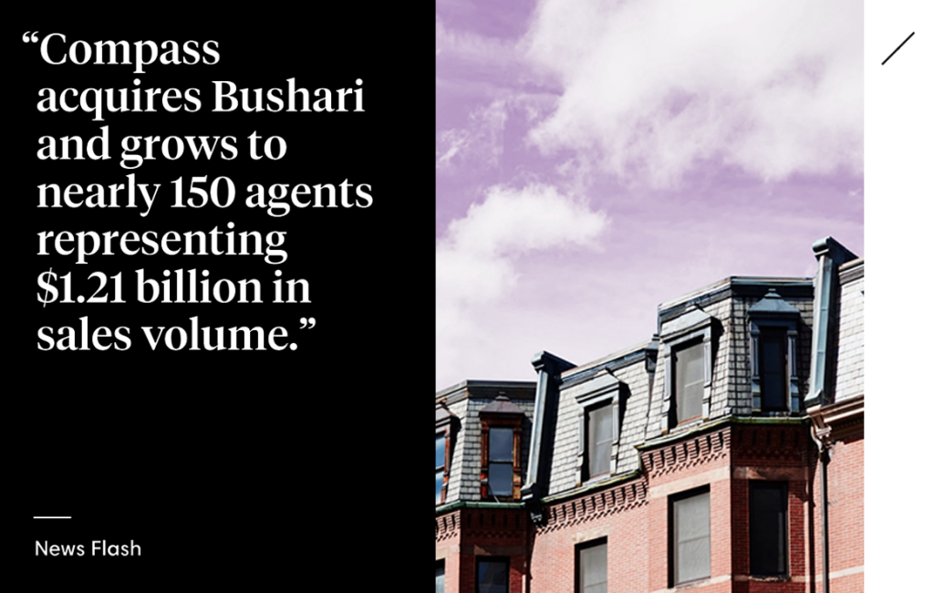 Compass Acquires Bushari Real Estate and Expands Presence in Greater Boston